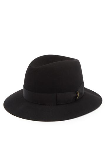 Matchesfashion.com Borsalino - Ribbon-trimmed Fedora Hat - Mens - Black