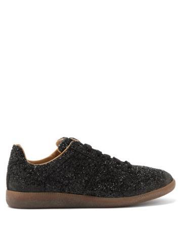 Matchesfashion.com Maison Margiela - Replica Glittered Leather Trainers - Mens - Black