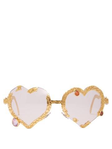 Matchesfashion.com Francis De Lara - My Bleeding Heart Garnet & Gold Plated Glasses - Womens - Gold
