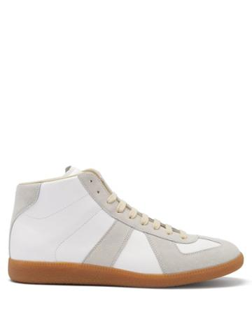Matchesfashion.com Maison Margiela - Replica High-top Leather And Suede Trainers - Mens - White