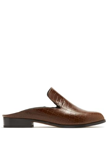 Clergerie Alice Crocodile-effect Leather Slip-on Loafers