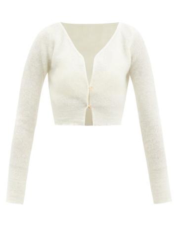 Matchesfashion.com Jacquemus - Alzou Cropped Mohair-blend Cardigan - Womens - Cream