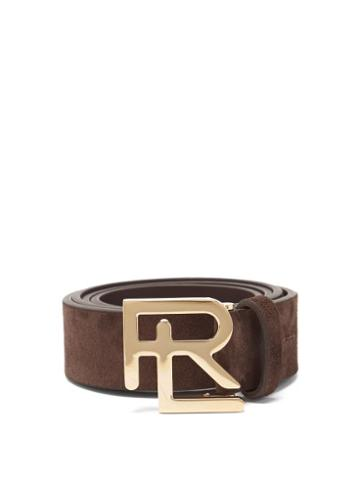 Matchesfashion.com Ralph Lauren Purple Label - Logo-plaque Suede Belt - Mens - Dark Brown