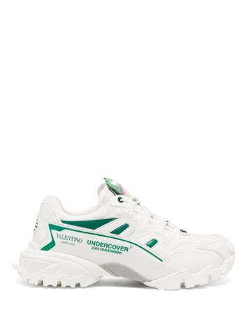 Matchesfashion.com Valentino - X Undercover Climbers Leather And Mesh Trainers - Mens - White