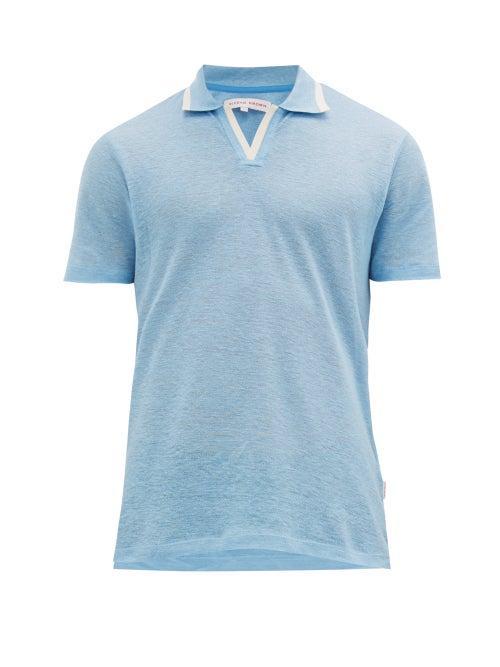 Matchesfashion.com Orlebar Brown - Felix Linen Piqu Polo Shirt - Mens - Blue