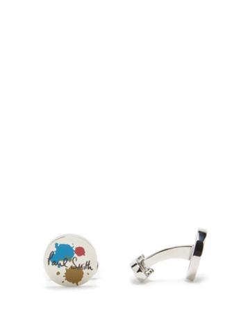 Matchesfashion.com Paul Smith - Paint-print Metal Cufflinks - Mens - Silver Multi