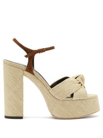 Matchesfashion.com Saint Laurent - Bianca Raffia Platform Sandals - Womens - Cream