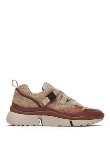 Matchesfashion.com Chlo - Sonnie Raised Sole Felt And Leather Trainers - Womens - Grey Multi