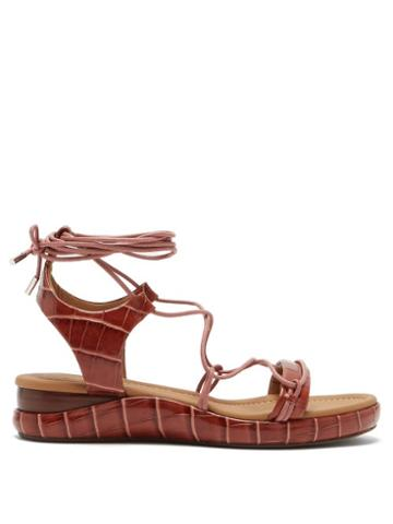 Matchesfashion.com Chlo - Wraparound Crocodile-effect Leather Sandals - Womens - Tan
