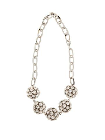 Matchesfashion.com Alessandra Rich - Crystal Embellished Sphere Necklace - Womens - Crystal