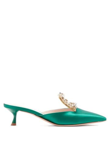 Matchesfashion.com Roger Vivier - Broche Vivier Crystal-buckle Satin Mules - Womens - Emerald