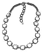 Gunmetal And Crystal Station Necklace