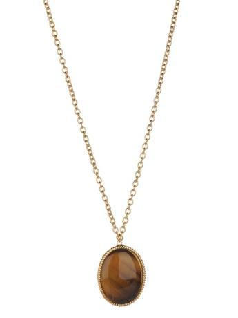 Oval Stone Pendant Necklace