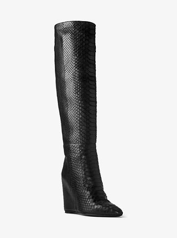 Michael Kors Collection Steff Python And Leather Wedge Boot