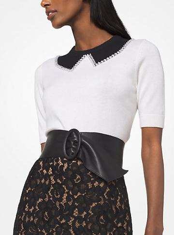 Michael Kors Collection Pearl Embroidered Cashmere Trompe Loeil Pullover