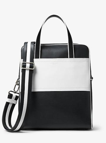 Michael Kors Collection Nikki Striped Calf Leather Tote