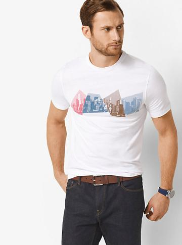 Michael Kors Mens New York City Skyline Cotton T-shirt