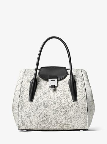 Michael Kors Collection Bancroft Large Crackled Leather Tote