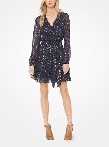 Michael Michael Kors Metallic Floral Chiffon Dress