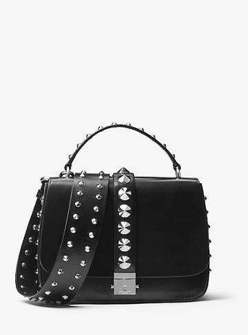 Michael Kors Collection Mia Studded French Calf Shoulder Satchel