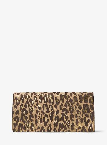Michael Kors Collection Christy Extra-large Leopard Intarsia Suede Clutch