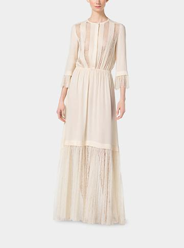 Michael Kors Collection Chantilly Lace And Silk-georgette Gown