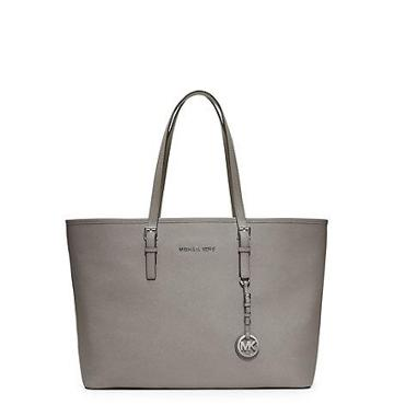 Michael Kors Jet Set Travel Saffiano Leather Tote Handbag In Pearl Grey