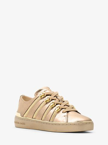 Michael Michael Kors Chelsie Zipper-trim Metallic Leather Sneaker