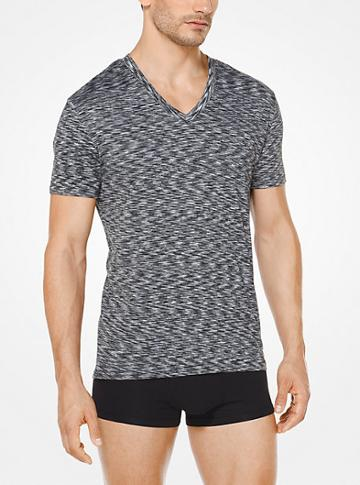 Michael Kors Mens Melange Jersey V-neck T-shirt