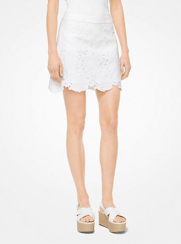 Michael Michael Kors Floral Lace Jacquard Mini Skirt