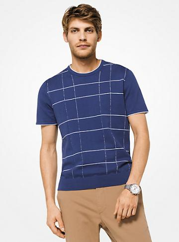 Michael Kors Mens Checked Cotton T-shirt