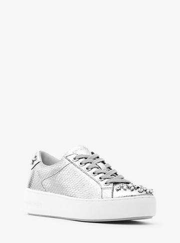 Michael Michael Kors Poppy Metallic Embossed-leather Sneaker