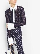 Michael Kors Collection Poplin-trim Lace Henley