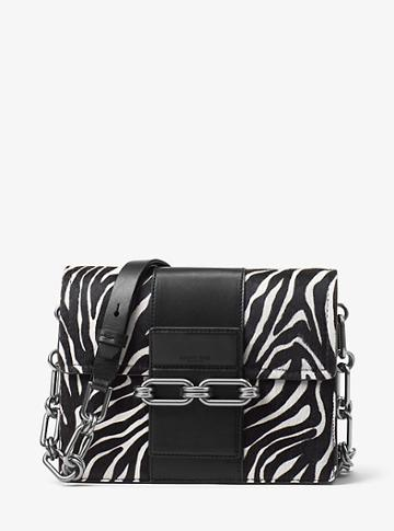 Michael Kors Collection Cate Medium Zebra Calf Hair Shoulder Bag