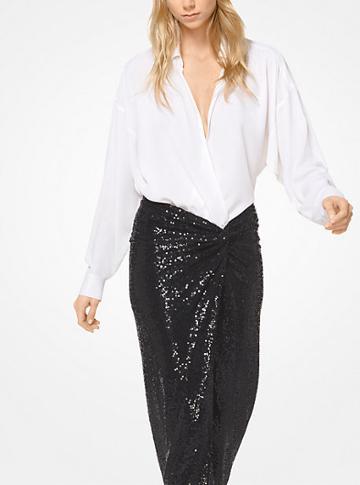 Michael Kors Collection Silk-georgette Wrap Blouse