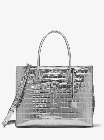 Michael Kors Studio Mercer Metallic Embossed-leather Tote
