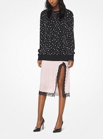 Michael Kors Collection Pearl And Crystal Embroidered Cashmere Pullover