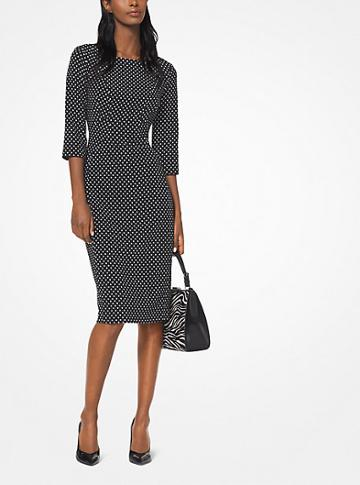 Michael Kors Collection Polka Dot Stretch-cady Sheath Dress