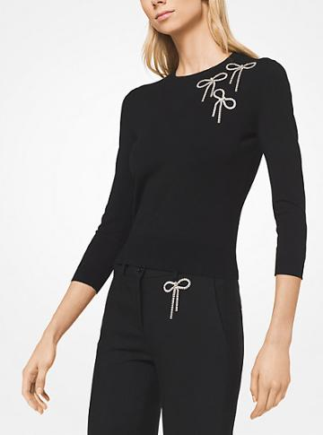 Michael Kors Collection Bow Embroidered Stretch-viscose Pullover