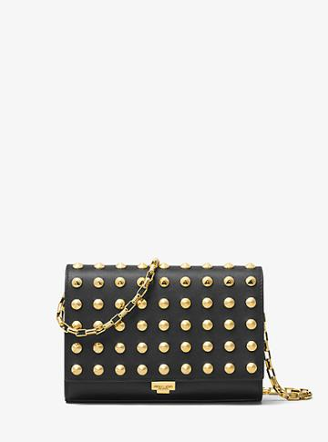 Michael Kors Collection Yasmeen Studded French Calf Leather Clutch
