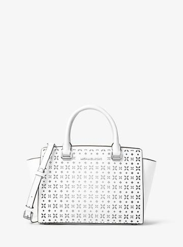 Michael Michael Kors Selma Medium Perforated Leather Messenger