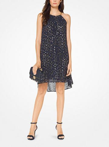 Michael Michael Kors Metallic Floral Chiffon Halter Dress