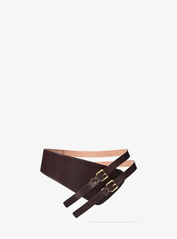 Michael Kors Collection Double-strap Calf Leather Belt