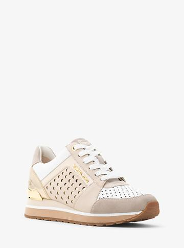 Michael Michael Kors Billie Perforated Leather And Suede Trainer