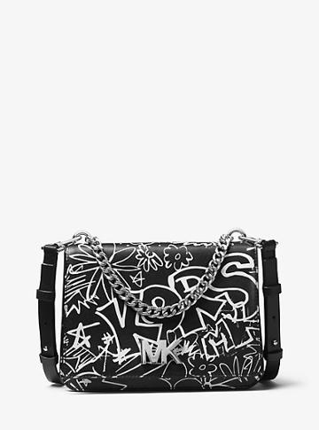 Michael Michael Kors Mott Large Logo Graffiti Leather Crossbody