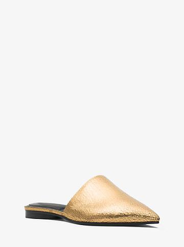 Michael Kors Collection Darla Crackled Metallic Leather Mule