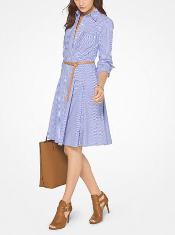 Michael Michael Kors Pinstripe Cotton-poplin Shirtdress