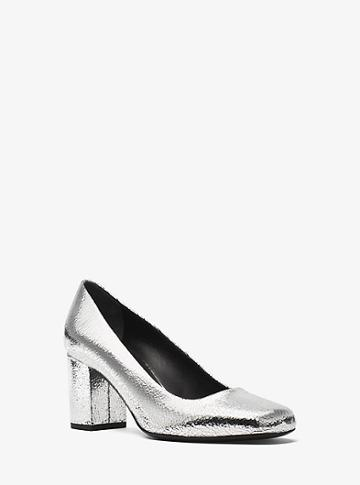 Michael Kors Collection Gigi Crackled Metallic Leather Pump