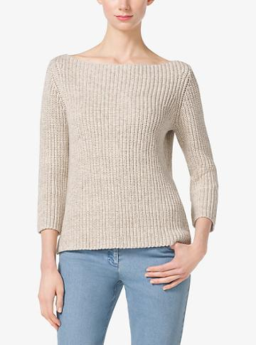 Michael Kors Collection Shaker-stitch Cotton And Linen Sweater
