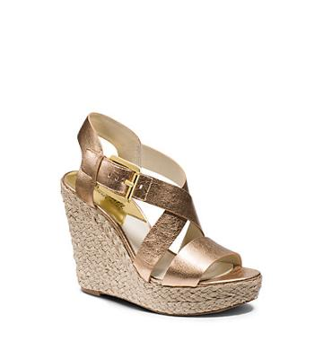 Michael Kors Giovanna Metallic Leather Wedge In Pale Gold